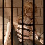 1girl barefoot black_shorts blonde_hair blurry bow braid chain chained collarbone depth_of_field faceless flat_chest hair_bow hair_over_eyes head_tilt kirisame_marisa leaning_back legs light light_particles light_rays long_hair meng_ziya no_mouth prison prison_cell prison_clothes scratches shaded_face shadow shorts single_braid sitting sleeves_rolled_up solo spread_legs stone_wall touhou wall