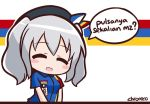 1girl :d ^_^ alternate_costume artist_name beret blush_stickers chibi chroneco closed_eyes convenience_store employee_uniform hat indonesia indonesian kantai_collection kashima_(kantai_collection) looking_at_viewer open_mouth shop silver_hair smile solo twintails uniform