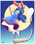 1girl animal_ears aozora_market bare_shoulders blue_hair food jumping mallet mochi open_mouth rabbit_ears red_eyes seiran_(touhou) solo touhou wagashi