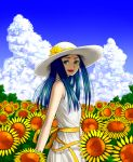1girl :d blue_hair blue_sky clouds colored_eyelashes dokomademodameko dress field flower flower_field from_side green_eyes hat hat_ribbon kuga_natsuki long_hair my-hime open_mouth ribbon sky sleeveless sleeveless_dress smile solo summer sun_hat sunflower white_hat yellow_ribbon