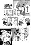 >_< 4girls akatsuki_(kantai_collection) anchor_symbol chibi closed_eyes comic commentary_request fang flat_cap folded_ponytail hair_ornament hairclip hat hibiki_(kantai_collection) highres himegi ikazuchi_(kantai_collection) inazuma_(kantai_collection) kantai_collection long_hair monochrome multiple_girls open_mouth school_uniform serafuku short_hair solid_circle_eyes sweatdrop translation_request triangle_mouth