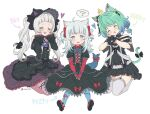 3girls animal_ears blue_eyes blush cat_ears cat_tail closed_eyes commentary_request gawr_gura gothic_lolita green_hair hololive hololive_english lolita_fashion long_hair looking_at_viewer medium_hair multiple_girls murasaki_shion open_mouth short_hair silver_hair simple_background sitting tail teeth thigh-highs twintails twitter_username uruha_rushia vinhnyu virtual_youtuber white_background