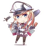 1girl airplane anchor_choker belt belt_pouch between_fingers black_gloves black_legwear blonde_hair blue_eyes blue_skirt blush cannon card choker closed_mouth collared_shirt covered_navel flying full_body gloves graf_zeppelin_(kantai_collection) gun hair_between_eyes hat holding holding_card holding_gun holding_weapon ido_(teketeke) kantai_collection leg_up long_hair long_sleeves looking_at_viewer machinery military military_uniform motion_blur pantyhose peaked_cap pleated_skirt pocket propeller shirt sidelocks skirt smile solo standing_on_one_leg tsurime turret twintails uniform visible_ears weapon white_hat white_shirt
