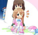 3girls blue_eyes blue_hair brown_eyes brown_hair glasses hat long_hair multiple_girls neptune_(series) nishizawa_mina one_eye_closed open_mouth ram_(choujigen_game_neptune) short_hair sitting smile v