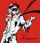 1boy bandana bone cabbie_hat copyright_name hat jumpsuit limited_palette male_focus popped_collar red_background simple_background smile takada_gan time_bokan_(series) yatterman
