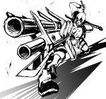 1boy artist_request crossover deadpool gun highres marvel mask monochrome sketch solo sword weapon