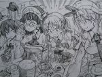 5girls bismarck_(kantai_collection) blush breasts chopsticks cup dessert eating flying_sweatdrops food graphite_(medium) hair_ornament hair_ribbon hat headgear highres kantai_collection kojima_takeshi large_breasts libeccio_(kantai_collection) littorio_(kantai_collection) long_hair long_sleeves military_hat monochrome multiple_girls nose_blush peaked_cap plate ribbon roma_(kantai_collection) short_hair sleeveless smile sushi tagme teacup tears traditional_media translated twintails zara_(kantai_collection)