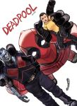 1girl 2boys action_figure amputee artist_request black_hair colossus_(x-men) deadpool female highres male marvel mask multiple_boys negasonic_teenage_warhead short_hair x-men