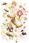 3girls apron artist_name beret black_legwear brown_hair cheesecake chef_hat chopsticks closed_eyes coffee coffee_mug cup dress drinking_glass drinking_straw dropping flying_sweatdrops food fork french_fries hat jumping karuha knife love_live!_school_idol_project maid maid_apron maid_headdress menu multiple_girls neckerchief noodles nyan orange_hair over-kneehighs pantyhose redhead rice rice_bowl salad salad_bowl shoes skirt spoon squatting standing_on_one_leg steam thigh-highs tomato tray underbust violet_eyes waist_apron yellow_dress yellow_skirt