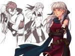 1boy 1girl artist_request bare_shoulders black_gloves black_legwear blue_scarf crossed_arms dress elbow_gloves fingerless_gloves fire_emblem fire_emblem:_akatsuki_no_megami gloves hair_ribbon half_updo hug long_hair micaiah multiple_views pantyhose ribbon scarf side_slit silver_hair sleeveless sleeveless_dress solo_focus sothe yellow_eyes
