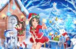 2girls :d artist_request blush boots brown_eyes christmas christmas_ornaments christmas_tree eyebrows eyebrows_visible_through_hair gift glasses gloves green-framed_glasses hat idolmaster idolmaster_cinderella_girls_starlight_stage kamijou_haruna long_gloves long_hair looking_at_viewer multiple_girls official_art open_mouth orange-framed_glasses pink-framed_glasses red-framed_glasses santa_boots santa_costume santa_gloves santa_hat shimamura_uzuki short_sleeves sleeveless smile snowflakes snowman stuffed_animal stuffed_toy v yellow-framed_glasses