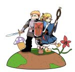 1boy 1girl armor blonde_hair braid dungeon_meshi hill laios_(dungeon_meshi) marushiru mushroom orange_eyes plant_monster shield simple_background staff sword weapon white_background yellow_eyes