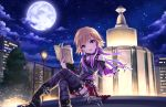 1girl :d artist_request belt black_boots book boots bracelet building choker clock clouds collarbone detached_sleeves eyebrows eyebrows_visible_through_hair fountain garter_straps high_heel_boots high_heels holding holding_book idolmaster idolmaster_cinderella_girls_starlight_stage jewelry long_boots long_sleeves looking_at_viewer moon multicolored_hair necklace night night_sky ninomiya_asuka official_art open_mouth outdoors pink_eyes red_skirt sitting skirt sky skyscraper smile solo star_(sky) thigh-highs tree