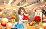 1girl :d artist_request balloon blue-framed_glasses blue_skirt brown_eyes brown_hair cake candle christmas christmas_ornaments christmas_stocking christmas_tree collarbone eyebrows eyebrows_visible_through_hair food frilled_skirt frills glasses gloves green-framed_glasses idolmaster idolmaster_cinderella_girls_starlight_stage kamijou_haruna long_hair long_sleeves looking_at_viewer official_art open_mouth orange-framed_glasses pink-framed_glasses plant plate potted_plant purple-framed_glasses shirt skirt smile solo stage_lights table yellow-framed_glasses