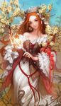 1girl artist_name bare_shoulders branch brown_hair corset cross crucifix danhu dress earrings flower frilled_sleeves frills glowing green_eyes hair_ornament highres jewelry leaf long_hair original pink_lips red_ribbon ribbon signature smile solo veil very_long_hair wand white_dress wide_sleeves