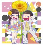 1boy 1girl arm_behind_head bangs blunt_bangs bowl_cut braid brown_hair closed_eyes dress flower hair_flower hair_ornament heart heart_in_mouth juushimatsu's_girlfriend matsuno_juushimatsu osomatsu-kun osomatsu-san riko_(sorube) sandals six_shame_faces smile sunflower tuxedo wristband