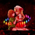 1girl androgynous brown_hair chara_(undertale) crossover flandre_scarlet holding_hands looking_at_another open_mouth red_eyes ribbon seiza shirt sitting spoilers striped striped_shirt tis_(shan0x0shan) touhou undertale wings