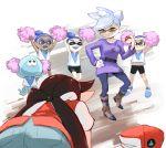 aori_(splatoon) artist_name ass bike_shorts black_hair blue_(pokemon) blue_(pokemon)_(classic) blue_(pokemon)_(cosplay) blue_hair brown_eyes cheerleader cosplay cousins holding holding_poke_ball hotaru_(splatoon) inkling jellyfish kneeling looking_down mole parody poke_ball pokemon pokemon_(game) pokemon_rgby pom_poms ponytail red_(pokemon) red_(pokemon)_(classic) silver_hair smile smirk splatoon stup-jam tentacle_hair yellow_eyes