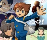1girl 4boys blue_gakuran blue_hair brown_eyes brown_hair gakuran gouenji_shuuya heart inazuma_eleven_(series) inazuma_eleven_go kino_aki matsukaze_tenma mizuhara_aki multiple_boys open_mouth raimon raimon_school_uniform raimon_soccer_uniform school_uniform shindou_takuto soccer_uniform sportswear tears tsurugi_kyousuke