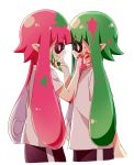 2girls eye_contact green_eyes green_hair hand_on_another's_cheek hand_on_another's_face highres ink ink_on_face inkling looking_at_another mask multiple_girls namori open_mouth pink_hair red_eyes shirt simple_background splatoon t-shirt tentacle_hair white_background white_shirt yuri