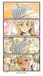 2girls 4koma :q bare_shoulders blonde_hair blush braid brown_hair chopsticks comic detached_sleeves french_braid headdress kantai_collection littorio_(kantai_collection) long_hair long_sleeves multiple_girls nattou necktie nonco nose_blush ponytail smile sparkle sweatdrop symbol-shaped_pupils tongue tongue_out translated wavy_hair zara_(kantai_collection)