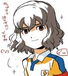 1boy armband brown_eyes brown_hair face inazuma_eleven_(series) inazuma_eleven_go looking_at_viewer male_focus mizuhara_aki overexposure raimon raimon_soccer_uniform shindou_takuto soccer_uniform solo sparkle sportswear tears translation_request upper_body white_background