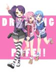 1boy 2girls :d blue_eyes blue_hair blush boots coat dorothy_west girl_sandwich highres holding_hands kuune_rin leona_west long_hair multiple_girls open_mouth pink_hair pointing pripara purple_hair sandwiched short_hair shorts side_ponytail skirt smile striped striped_legwear thigh-highs toudou_shion yellow_eyes