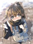 1girl alternate_costume artist_name blush brown_eyes brown_hair coat commentary_request darkside from_above inazuma_(kantai_collection) interacting_with_viewer kantai_collection looking_at_viewer looking_up outdoors scarf snow