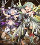 2girls armor armored_dress armpits bangs bare_shoulders barefoot black_legwear blunt_bangs blush braid claw_(weapon) detached_sleeves foot_tickling hair_ornament haku_(p&d) laughing long_hair looking_at_viewer multiple_girls navel open_mouth outstretched_arms puzzle_&_dragons red_eyes restrained shield shirosame tail tears thigh-highs tickling tiger_tail twin_braids valkyrie_(p&d) weapon wings zettai_ryouiki