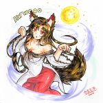 1girl animal_ears bare_shoulders breasts brooch brown_hair cleavage collarbone freeze-ex full_moon imaizumi_kagerou jewelry large_breasts long_hair marker_(medium) moon open_mouth red_eyes shirt skirt solo tail touhou traditional_media very_long_hair wide_sleeves wolf_ears wolf_tail