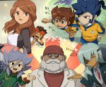 1girl apron beard black_eyes blue_hair brown_eyes brown_hair closed_eyes endou_mamoru eyepatch facial_hair formal headband inazuma_eleven_(series) inazuma_eleven_go long_hair looking_at_viewer matsukaze_tenma miyabino_reiichi mizuhara_aki necktie older open_mouth oven_mitts raimon raimon_natsumi raimon_soccer_uniform sakuma_jirou school_uniform short_hair soccer_uniform sportswear suit sunglasses sweat teikoku teikoku_school_uniform translation_request tsurugi_kyousuke vest