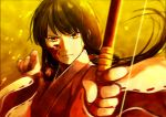 1girl aiming_at_viewer angry bangs black_hair blood blood_on_face blunt_bangs blurry bow_(weapon) closed_mouth depth_of_field floating_hair frown hair_ornament holding_weapon ichi_1111_wan inuyasha japanese_clothes kikyou_(inuyasha) long_hair long_sleeves looking_at_viewer low_ponytail messy_hair miko outstretched_arm ribbon_trim solo upper_body weapon wide_sleeves wind yellow_background