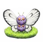 antennae butterfly_wings butterfree_(cosplay) commentary_request fangs flower fur grass hisakichi looking_at_viewer no_humans on_head pokemon pokemon_(creature) red_eyes standing teeth venonat white_background wings