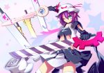 >;) 1girl ;) adapted_object advent_cirno character_name creator_connection crop_top dual_wielding facial_mark gloves green_eyes hat hat_ribbon magarikado merry_nightmare midriff one_eye_closed parody pointy_ears purple_hair ribbon robe short_hair smile solo star starry_background sword weapon yumekui_merry