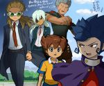 5boys aqua_hair blue_hair brown_hair clouds eyepatch formal goggles hairlocs inazuma_eleven_(series) inazuma_eleven_go kidou_yuuto long_hair male_focus matsukaze_tenma mikado_haruma mizuhara_aki multiple_boys necktie raimon raimon_soccer_uniform sakuma_jirou short_hair smirk soccer_uniform sportswear suit teikoku teikoku_soccer_uniform translation_request tsurugi_kyousuke vest