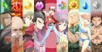 3girls 6+boys :d abs anniversary badge bald baseball_cap belt bikini black_hair black_legwear blonde_hair blue_bikini blue_eyes breasts brown_hair buckle cleavage closed_eyes collarbone crossed_arms denim erika_(pokemon) everyone facial_hair fishnets glasses green_eyes grin gym_leader hairband hat hime_cut japanese_clothes jeans kasumi_(pokemon) katsura_(pokemon) kimono kisuke_(akutamu) kyouhei_(pokemon) long_hair long_sleeves machisu_(pokemon) multiple_boys multiple_girls muscle mustache natsume_(pokemon) necktie open_mouth orange_hair pants pantyhose poke_ball pokemon pokemon_(game) pokemon_rgby red_(pokemon) red_(pokemon)_(classic) red_eyes sakaki_(pokemon) short_hair smile swimsuit takeshi_(pokemon) team_rocket
