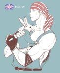 1boy bandana billy_kane english_flag fatal_fury fingerless_gloves flag gloves male_focus muscle pet rabbit short_hair snk solo the_king_of_fighters yk