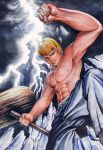 abs blonde_hair broken_glass cigarette clenched_hand earrings fist glass great_teacher_onizuka hammer jewelry lightning male mallet manly muscle onizuka_eikichi shirtless smoking solo topless