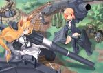 aa animal_ears antiaircraft_weapon blonde_hair blue_eyes bunny cannon crown german girl_arms gloves helmet long_hair mecha_musume military military_uniform mortar mortar_(weapon) orange_hair rabbit railway_gun red red_eyes short_hair train uniform world_war_ii wwii zeco