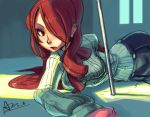alex_ahad bow hair_over_one_eye kirijou_mitsuru long_hair lying on_side persona persona_3 red_eyes red_hair redhead rough signature solo sweater