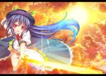 1girl blue_hair butakata food fruit hat hinanawi_tenshi long_hair peach red_eyes solo sunset sword_of_hisou touhou very_long_hair weapon