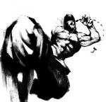 adult baggy_pants capcom cozy grown_up hat kicking male monochrome muscle ponytail solo street_fighter street_fighter_iii yun_lee