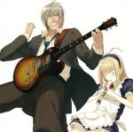 ahoge angry anna anna_(carnevale_della_luce_della_luna) blonde_hair blush carnevale_della_luce_della_luna clenched_teeth formal grey_hair guitar highres instrument long_hair maid maid_headdress necktie oosaki_shin'ya oosaki_shinya recorder romeo romeo_(carnevale_della_luce_della_luna) short_hair silver_hair simple_background suit yellow_eyes