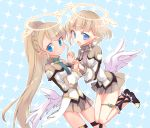 2girls blonde_hair blue_eyes blush halo highres holding_hands kyuuri_(miyako) liliana_hart long_hair misty_sheikh multiple_girls open_mouth pleated_skirt pointy_ears ponytail pop-up_story skirt smile wings