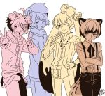 4boys animal_ears bear_ears bear_tail bracelet candy candy_lapin_(show_by_rock!!) chahora_(siki_dos) chokyuruiyu_(show_by_rock!!) cream_teddy_(show_by_rock!!) crossed_arms double_v genderswap hand_on_hip hands_in_pockets hood hoodie jewelry lollipop multiple_boys pig_ears pig_macaron_(show_by_rock!!) rabbit_ears short_hair show_by_rock!! signature smile squirrel_ears squirrel_tail tail v
