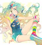 1girl aqua_eyes aqua_hair bow bracelet earrings food_themed_clothes gradient_hair grin hair_bow hair_ornament hairclip hatsune_miku jewelry long_hair multicolored_hair nail_polish nozaki_tsubata one_eye_closed pin shoes smile sneakers suspenders twintails very_long_hair vocaloid