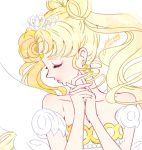 1girl 2015 bare_shoulders bishoujo_senshi_sailor_moon blonde_hair closed_eyes collarbone crescent crown dated double_bun earrings facial_mark forehead_mark hands_clasped jewelry lipstick long_hair makeup neo_queen_serenity pink_lipstick profile signature solo tsukino_usagi twintails upper_body white_background yukinami_(paru26i)
