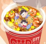 2boys biting black_hair bound bowl_cut brothers heart heart_in_mouth lowres male_focus matsuno_juushimatsu matsuno_osomatsu miio_(310kjk) miniboy multiple_boys number osomatsu-kun osomatsu-san pajamas paw_print ramen shrimp siblings smile steam tied_up