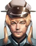 1boy anchor_hair_ornament beard blew_andwhite blonde_hair closed_mouth collat expressionless facial_hair gradient gradient_background graf_zeppelin_(kantai_collection)_(cosplay) green_eyes grey_background grey_hat hair_ornament hat highres lips looking_at_viewer male_focus peaked_cap simple_background upper_body
