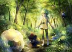 1boy barefoot chain cottonee eevee emolga forest grass green_eyes green_hair highres in_tree light_rays looking_at_viewer mio_(pixiv6572033) n_(pokemon) nature outdoors petilil pokemon smile sunbeam sunlight tagme tree walking watermark whimsicott zorua